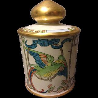 Noritake Art Deco Macaw Parrot Pearl Lustre Glazed Tobacco Jar Humidor Gorgeous