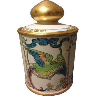 Noritake Art Deco Macaw Parrot Pearl Lustre Glazed Tobacco Jar Humidor Gorgeous