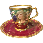 Richard Klemm Dresden 1st Quality Gibson Girl Portrait Cup and Saucer with Flowers