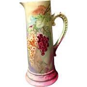 """Delinieres & Co. Limoges France 13.75"""" Artist Initialed Tankard with Grape motif"""
