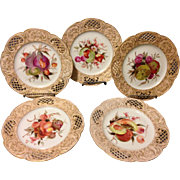 """Set of 5 KPM Berlin 18th Century 1st Quality HP Reticulated 8"""" Fruit Plates w Gold Gilt Very Rare Find"""