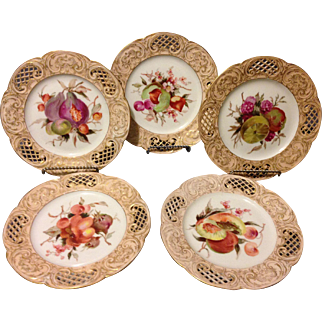 "Set of 5 KPM Berlin 18th Century 1st Quality HP Reticulated 8"" Fruit Plates w Gold Gilt Very Rare Find"