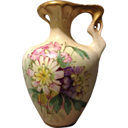 RStK Turn Teplitz Bohemia Amphora Nouveau Pitcher Flowers and Gold Gilt accents