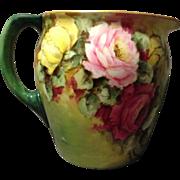 JPL Jean Pouyat Limoges HP Rose Cider Lemonade Pitcher Rare Pearl Interior Glaze