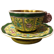 Early Spode Chinoiserie Butterfly Handle Demitasse Cup and Saucer Set Mold 2154 circa 1815