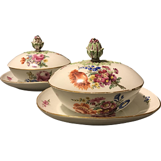 Pair of Rare 18th Century Marcolini Meissen Floral Covered Asparagus Sauce Tureens