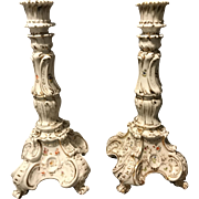 """Pair of Richard Klemm Dresden Rococo Claw Footed 10.5"""" Floral Candle Sticks Nice"""