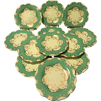 "Set of 12 Cauldon England for Tiffany 6"" Dessert Plates Green and Gold Stunning"