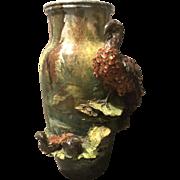 "Monumental 15.75"" French Scenic Barbotine Vase Encrusted Bird w Chicks in Nest"