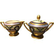 Pickard Studio USA Decorated Gold Encrusted Linear Pattern Creamer and Sugar Set