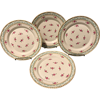 "Set of 4 KPM Berlin 19th Century 1st Quality Kurland Rose 8"" deep well plates Outstanding"