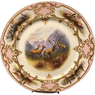 "Guerin Limoges Studio Decorated HP Forest Scene w Heavy Gold Gilt 11"" Charger"