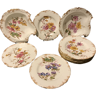 Royal Crown Derby 12 Piece Ice Cream Dessert Set Aesthetic Floral Decor