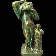 """Zsolnay Pecs Hungary Modernist Iridescent Eosin Glazed Large 11"""" Nude Female Figurine Posey Vase"""
