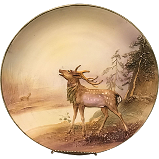 "Rare Noritake Nippon Deep Mold in Relief Elk 10.75"" Charger Wall Plaque Plate"