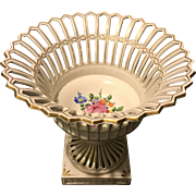 Early Carl Thieme Dresden Floral Bolted Reticulated Pedestal Basket Compote