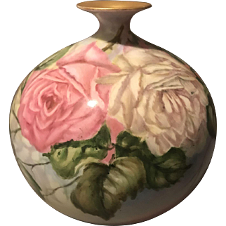 "Delinieres & Co. D & Co Limoges France 7"" Ball Vase with Hand Painted Roses and Gold Gilt Mouth"