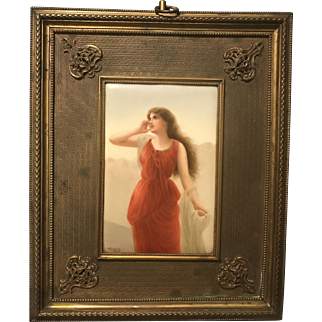 Hutschenreuther Germany 19th Century Artist Signed Wagner Porcelain Plaque of Echo by Bisson