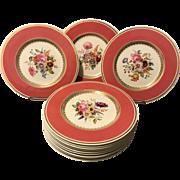 "Set of 12 10.5"" Spode Copelands Service Plates Floral Centers and Mauve Shoulder"
