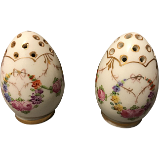 Ambrosius Lamm Dresden Pair of ALL Porcelain Shakers Floral Swags and Gold Gilt