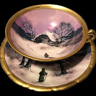 Ambrosius Lamm Dresden Cabin in Winter Lustre Glazed Pedestal Cup Saucer Set