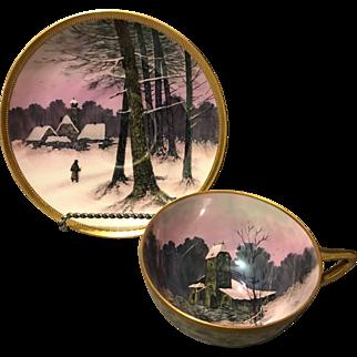 Ambrosius Lamm Dresden Scenic Cabin in Winter Lustre Glazed Cup Saucer Set Rare