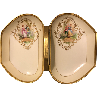 """Ambrosius Lamm Dresden 12.5"""" Dual Compartment Tray w Courting Couples Gold Gilt"""