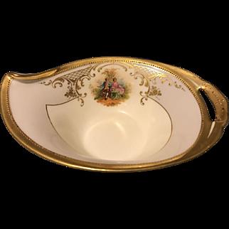 "Ambrosius Lamm Dresden 6.5"" Sauce Nut Mint Dish w Courting Couple Gold Gilt Mint"