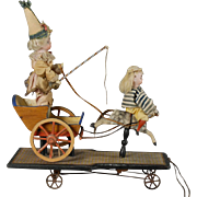German Pull Toy Rocking Horse Cart