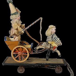 German Pull Toy Rocking Horse Cart