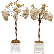 Pair of Ornamental Flowering Plants in China Planters for Dollhouse