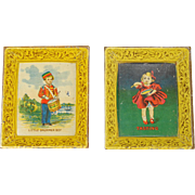 Victorian Lithographed Tin Tray Pair
