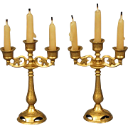 Pair of Cast Metal Candelabra