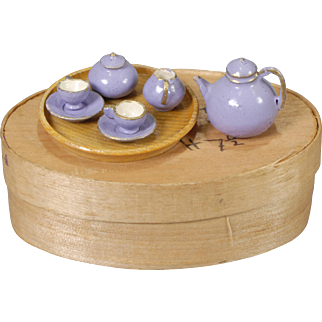 German Treen Tea Set for Dollhouse