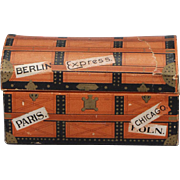 German Lithographed Paper Travel Trunk