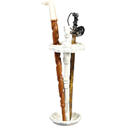 Cast and White-painted Metal Umbrella Stand