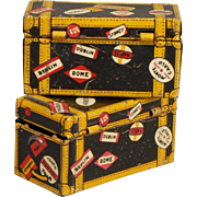Two Marx Lithographed Tin Travel Trunks