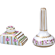 Dollhouse Porcelain Inkwell and Bud Vase Set