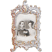 Dollhouse Miniature Easel Frame with Kaiser Wilhelm, Augusta Victoria, Picture