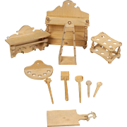 Wooden Accessories for Larger-scale Dollhouse Kitchen