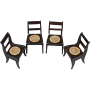 Set of Four Black-painted Biedermeier Side Chairs from the Kestner Firm