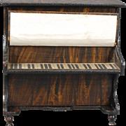 Early German False-grained Dollhouse Upright Piano