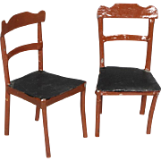 Pair Brown-painted Side-chairs