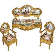 Three Matching Pieces of Viennese Enamel Furniture