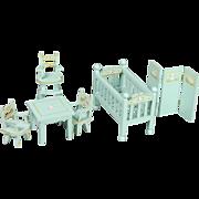 Complete Set of Dollhouse Nursery Furniture