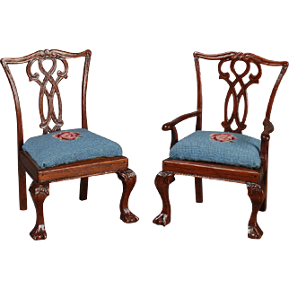 Chippendale Taste Armchair and Side Chair