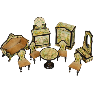 Lithographed Paper Parlor Suite for Dollhouse