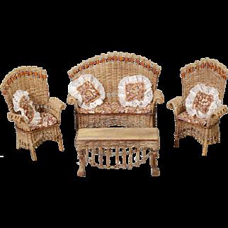 Artist-created Four-piece Suite of American Wicker Furniture