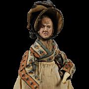 "Early German Doll ""alien head"" in Wax, on a Fully Jointed Wooden Body"