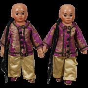 Sonneberg Wax Over Asian Twins Dolls